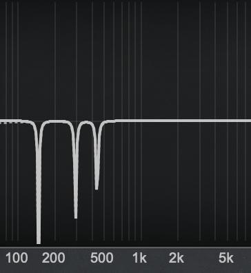 mehrere Notch-Filter, abgestimmt auf eine Grundfrequenz (150 Hz) und ihre erste und zweite Harmonische (300Hz und 450Hz)